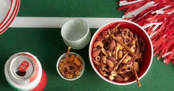photo shows a bowl of snack mix