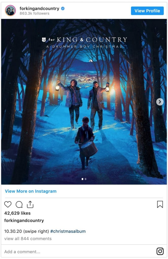 for king & country instagram post promoting their new christmas album